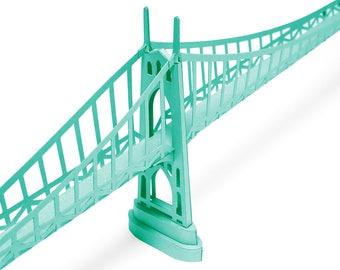 St Johns Bridge, paper model kit with pre-cut details || Portland Oregon landmark || 45 inches long || teal green color