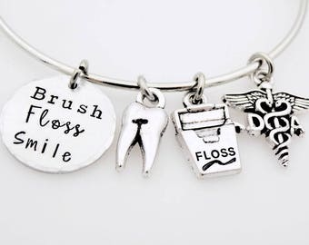 Dental Assistant Jewelry, Dental Assistant, Gift for Dental Professional, Dentistry, Assistant Gift, Handstamped Jewelry, Adjustable Bangle