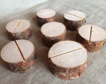 20 Natural Pine Wood Place Card Holders, Natural Wood Place Card Holders, Natural Wood Circle Place Card Holders Set of 20