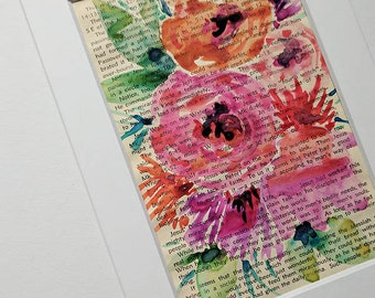 """Original Matted 4""""x 6"""" Watercolor Floral Painting on old Bible commentary, original, watercolor florals, abstract floral painting"""