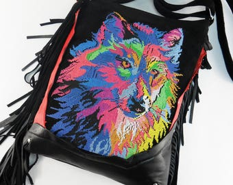 Black Suede Wolf Embroidered Crossbody Bag Hippie Bag with Fringes Extravagant Multicolor Hipster Fringe Bag Party bag Rainbow Wolf Handbag