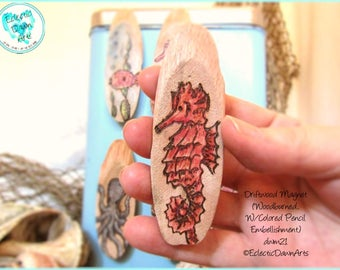 Red Seahorse Driftwood Magnet #DWM21