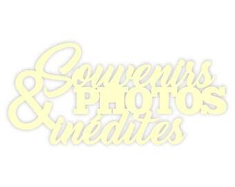 "Wood cutout word ""Memories and photos"" cardboard"