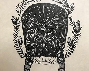 Maize - linocut print