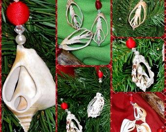 Beach Holiday Ornaments - Coastal 3 pc Set Cut Seashell Christmas Tres Tree Hanging Gift- Wedding Photo Shoot Prop - Curtain Tie Back