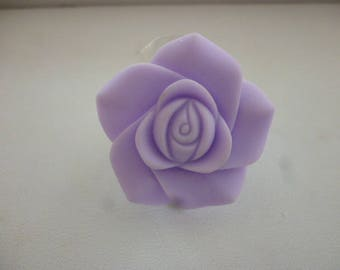 Resin and silver rose ring.