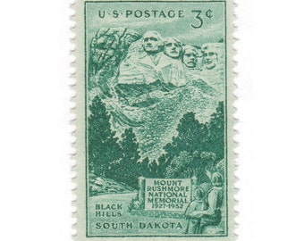 10 Unused Vintage Postage Stamps - 1952 3c Mount Rushmore - South Dakota - Item No. 1011