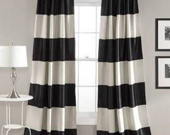 Delightful Summer Sale 20%off  Cabana Black And White Stripe Curtains, Black Cabana  Curtains