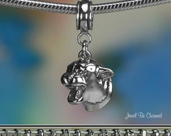 Sterling Silver Cougar Charm or European Style Charm Bracelet .925