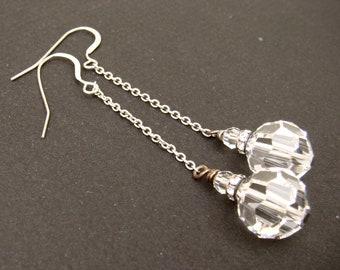 SPLENDID swarovski crystal clear long drop bridal earrings.  Wedding jewelry.  Vintage Style.  Sterling silver chain earrings.