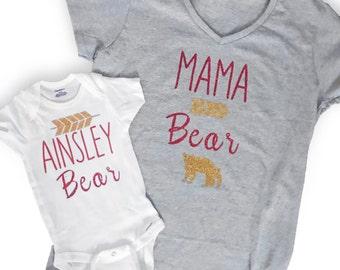 Mama Bear and Baby Bear Matching Tees - Personalized Maka Bear Shirts - Baby Shower Gifts - Custom Clothing - New Mom - Baby Bear Onsies