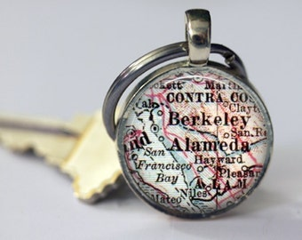 Berkeley Alameda California Personalized Gift for her, keychains graduation gift, College Gift Charms, Cool Keychains for men