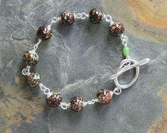 Forest Bracelet, Brown Bracelet, Light Green Bracelet, Glass Bracelet, Beaded Bracelet, Handmade Bracelet, Brown and Green Bracelet