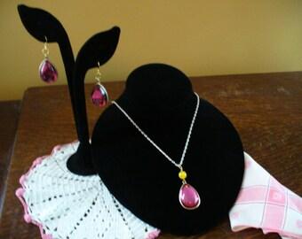 Pink Tear Drop Necklace, Tear Drop Earrings, OOAK, Necklace and Earrings, Pink Earrings, Gold Necklace, Pink Necklace, Affordable Necklace