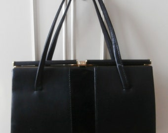 Vintage 1980's Black Leather-Look & Patent Vinyl Ladylike Kelly Hand Bag