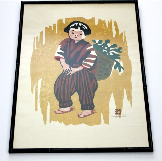 Vintage Kiyoshi Saito Carved Woodblock Print, Signed Japanese Child with Bushel Basket,