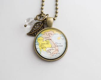 Map of Vietnam and Laos - Map Pendant Necklace - Custom Jewelry - Travel Necklace - Antique Brass - You Choose Bead and Charm - Customizable
