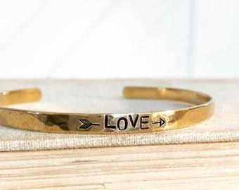 Love - Rustic Hand Stamped Cuff Bracelet Gold, Brass