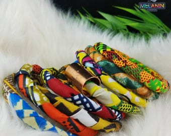 African Fabric Bangles/Bracelets w/ Brass Tube Detail (9 bangles total)