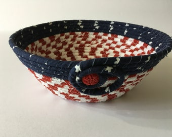Red, White and Blue Coiled Rope Bowl, Patriotic Fabric Bowl, Catchall Basket, Americana, Quiltsy Handmade