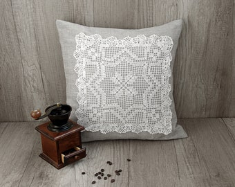 Gray linen crochet pillow Grey decorative pillow Handmade embroidered cushion cover White grey needlepoint pillow cover 16 x 16 (40 x 40 cm)