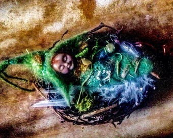 Baby Nesting Elf, Woodland Fantasy fairy sculpture collectable.