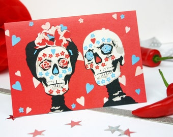 Day of the Dead Wedding Anniversary Card - Mexican Sugar Skulls Anniversary Card - Skull Wedding Card - Dia De Los Muertos