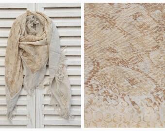 ON SALE Large Square chiffon scarf, Animal print scarf, Shawl Scarf, Tassel scarf, Fall Winter Scarf, Womens Fashion Scarf
