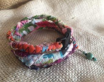 Scrap fabric rope charm wrap bracelet