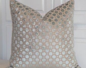 VELVET GEO In MINERAL - Decorative Pillow Cover - Robert Allen - Geometric Dot Pillow - Spa Blue