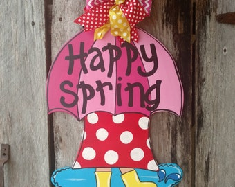 Spring door hanger, springtime door hanger, April showers, umbrella door hanger
