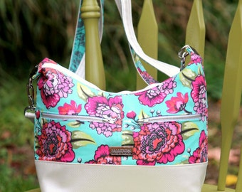 Hosta Hobo Bag (Small sized) in Tula Pink Elizabeth fabrics with pearlized white vinyl accents