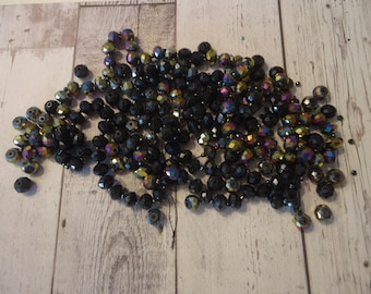 Mixed Lot of glass Beads, Faceted Rondelles, 3.5 Oz, Black and Black AB, Jewelry Component, Beading Supply, Altered Art Supply