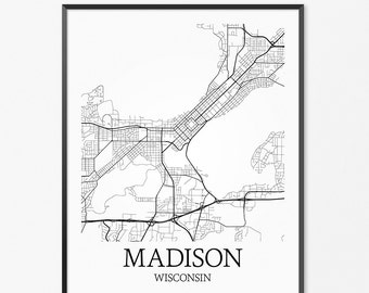 Madison WI Map Madison Wisconsin Madison Print Madison Art