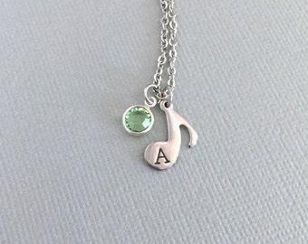 Personalized Musical Note Necklace, Musician Gift, Pianist Gift, Birthstone Jewelry, Initial Necklace, Guitar Pick, Treble Clef, Little Girl