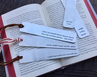 Hand-Stamped Aluminum Bookmark, personalized bookmark, customized bookmark