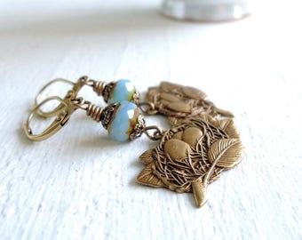 Bird's Nest Earrings Spring Garden Earrings Robin's Egg Blue Brass and Czech Glass Earrings Gift For Gardener Mother's Day Gift Nature Gift