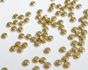 50 Heishi rondelles solid brass spacer beads 4x2mm 9328MB