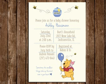 "Printable Baby Shower Invitation/Winnie The Pooh Baby Shower/ Girl or Boy/ 5""x7"""
