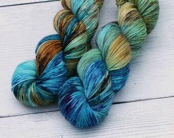 Shattered {Ghastly} 80/20 Superwash Merino - Nylon - Speckled - Sock - Fingering - Yarn - Blue - Brown - Green  - 100 Gram - 400 Yards
