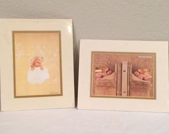 """ANNE GEDDES Set of Baby Prints  Matted 8x10"""" Little Thoughts w Love 1995 NEW"""