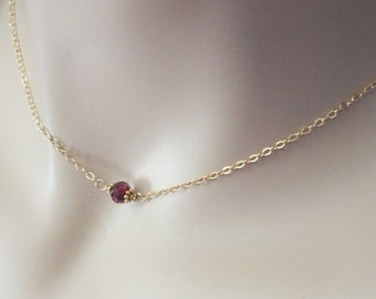 Minimalist Layer Necklace, 14k Gold Filled Necklace, Minimalist Garnet Necklace, Natural Gemstone, Garnet Necklace, January Birthstone