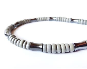 Men's grey wooden necklace made with hematite - Thunderstorm