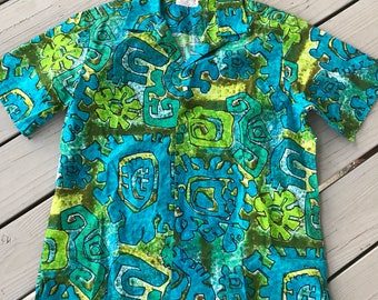 Vintage mens Hawaiian shirt for Marjy Stevens by Kahala