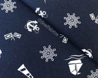 Rose and Hubble Navy Nautical 100% Cotton Fabric
