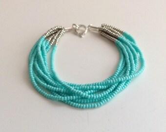 Turquoise bracelet,beaded bracelet, seed bead bracelet,,bridesmaid gifts,boho bracelet,aqua,multistrand,anklet, ankle bracelet,gift for her