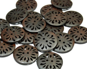 30 mm Wholesale Chocolate Brown Color 2 Hole Natural Wooden Button for Sewing, Craft