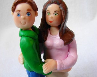 Custom Couple Cake Topper, Polymer Clay Cake Topper, Custom Figurine.  A  Hand Crafted Art Sculpture.