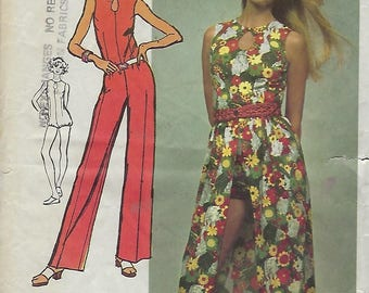 """Simplicity 5025  Misses' Super Jiffy Jumpsuit in two lengths and Wrap Skirt     Size 14 Bust 36"""""""
