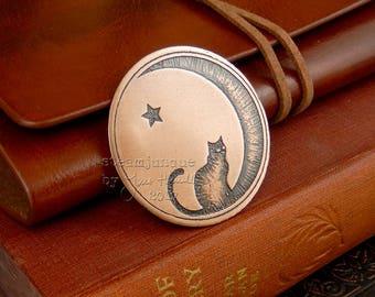 Copper Cat Brooch, moon brooch, cat jewellery, cat star and moon brooch, gift for cat lover, copper jewellery, copper brooch.